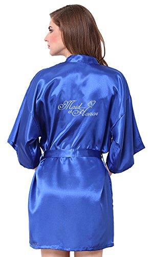JOYTTON Women's Satin Kimono Robe With Embroidered Maid Of Honor Royal Blue XXXL (Embroidered Peignoir)
