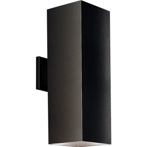 Progress Lighting P5644-31 6-Inch Up/Down Square with Heavy Duty Aluminum Construction and Die Cast Wall Bracket Powder Coated Finish, Black by Progress Lighting