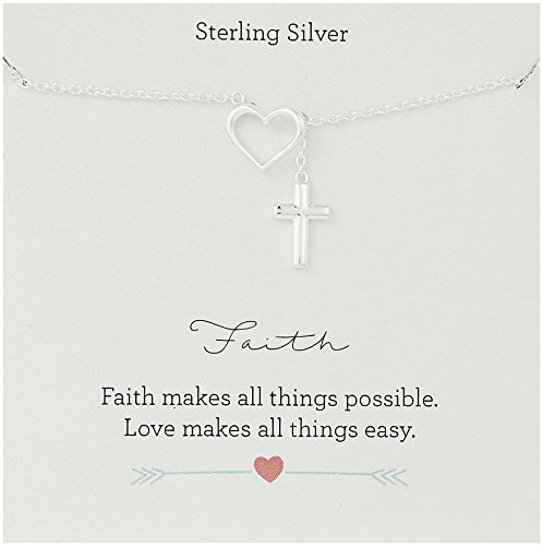 Heart Lariat Necklace Silver (Sterling Silver Open Heart and Cross Motifs Y-Shaped Necklace, 24