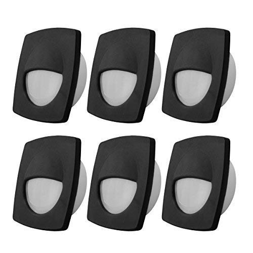 Dream Lighting 12volt LED Black Recessed Companion Way Courtesy Light for Marine Ship Boat Cabin, RV Stair Step Light, Exterior Patio Garden Landscape Lighting -Square, Cool White, Pack of 6 (Companion Stairs)