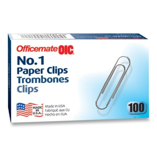 Wholesale CASE of 25 - Officemate No. 1 Size Paper Clips-Paper Clips, Size 1, Standard, .034 Gauge, 100/BX, Silver