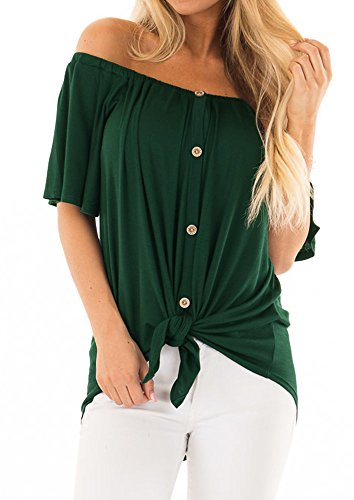 Women's Off The Shoulder Tops Short Sleeve Loose Plain T Shirt Tie Knot Tunic Blouse Deep Green Large (Tie Front Maternity Dress)