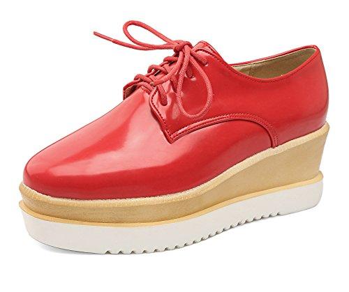 kengät Pu Toe Naisten Odomolor Pentu kantapäät Punainen Pumput Neliön Kiinteä Nauhakenkä zw1nTgxPX