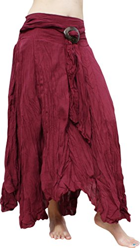 - Raan Pah Muang Brand Wild Light Cotton Gypsy Pixie Dancing Long Skirt Coconut Buckle, X-Large, Burgundy Red