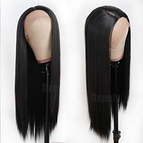 - Oxeely Black Long Straight Synthetic Lace Front Wigs for Women Glueless Lace Wig YAKI Heat Resistant Fiber Hair Wig 22 inch