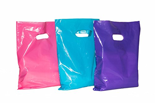 150 12x15 Merchandise Bags: ACME Bag Bros Large Glossy Purple, Pink & Teal Plastic Bags with Handles; Plastic Retail Bags; Plastic Shopping Bags, high Density Retail Merchandise Bags