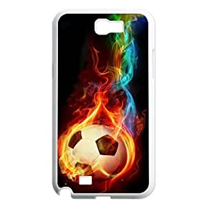 Custom Colorful Case for Samsung Galaxy Note 2 N7100, Fire Soccer Ball Cover Case - HL-R661014