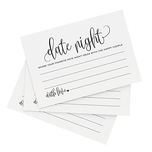 Bliss Paper Boutique Date Night Ideas Cards, for Bridal Shower, Married Couples, Bride and Groom - Pack of 50 4x6 Cards -