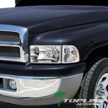 Topline Autopart Chrome Crystal Head Lights+Corner Signal Amber Dy 94-01 Dodge Ram 1500/2500/3500 - Dodge Van Headlight Assembly