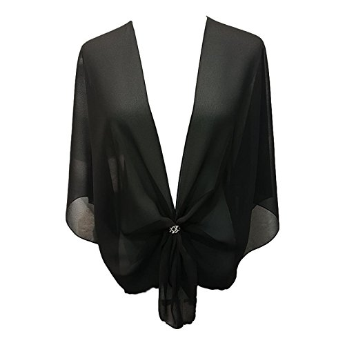 eXcaped Women's Sheer Chiffon Open Front Evening Shawl Wrap with Silver Scarf Ring (Black)