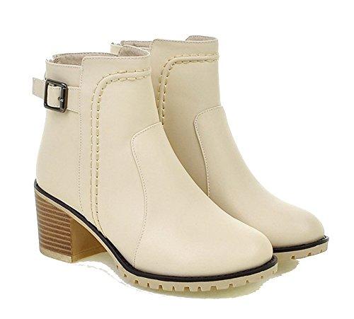 Beige Donna Shoes a Inverno Zip Corti Scarpe Tacco Blocco Stivali a AgeeMi Chiusa AURw57wq