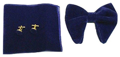 Oversized UK Men's Hanky links Square Velvet amp;L® Cuff Bow Pocket Set L Navy Tie xwUnEa85q