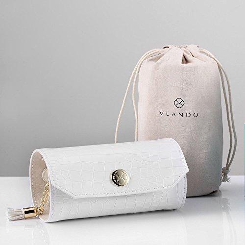 Vlando Rollie Portable Jewelry Roll, lipstick/Daily Jewelries Storage Case- (White) by Vlando