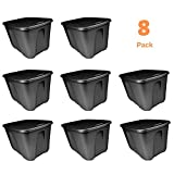 Large Storage Tote with Lid - Heavy Duty Container Box Plastic Closeable Air Tight Bin - Case of 8, 18 Gallon Each, Reusable for Garage Move Closet Desk Shelves Clothes Books Basement - 23 x 17 x 15''