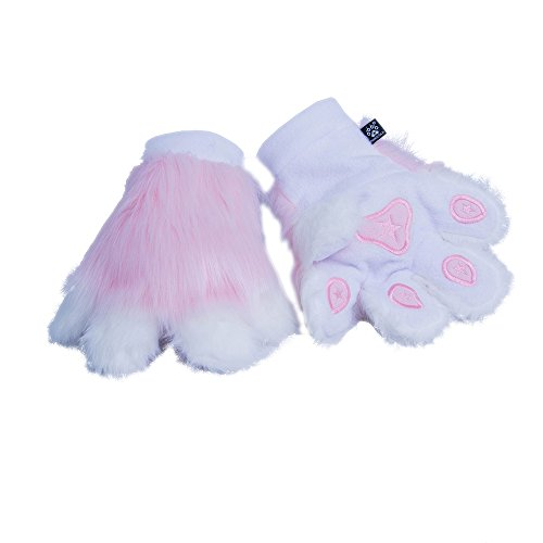 Pawstar Paw Mitts Furry Animal Hand Paws Costume Gloves Adults - Pink -