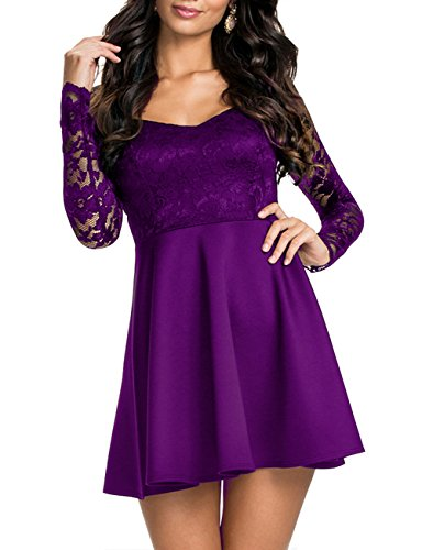 Lace Bodice Dress (NuoReel Women's Lace Bodice Skater Dress (Small,)