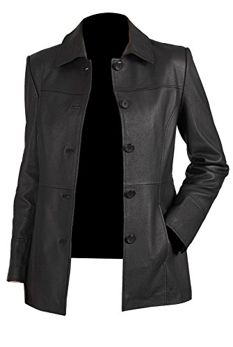 Sputer Lia Classic Womens 5-Button Pu Faux Coat Blazer Leather Jacket (Missy Regular & Plus size), X-Small, Black