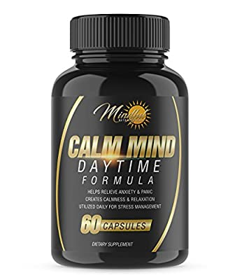 CALM MIND DAYTIME FORMULA: All-Natural Herbal Stress Relief And Anti-Anxiety Supplement- Promoting A Positive, Peaceful & Centered Mind For Daily Life Management; Ashwaganda, GABA, Lemon Balm & More