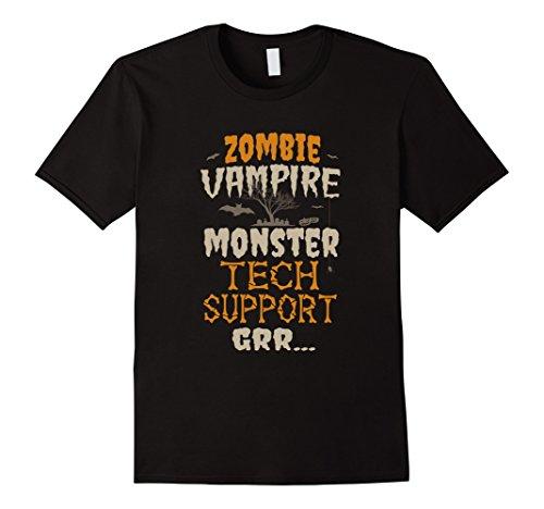 [Mens Zombie Vampire Monster Tech Support Halloween 2017 T-Shirt Medium Black] (Tech Support Halloween Costume)