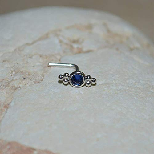 Blue Sapphire Nose Ring - 2mm Blue Sapphire TRAGUS STUD // Silver Nose Stud - Tragus Earring - Cartilage Earring - Helix Piercing - Nose Hoop - Nose Ring Stud 16g