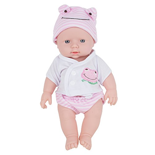 Careshine Baby Doll Soft Vinyl Silicone interactive doll Sound Newborn Baby Toy Birthday Gift (pink)
