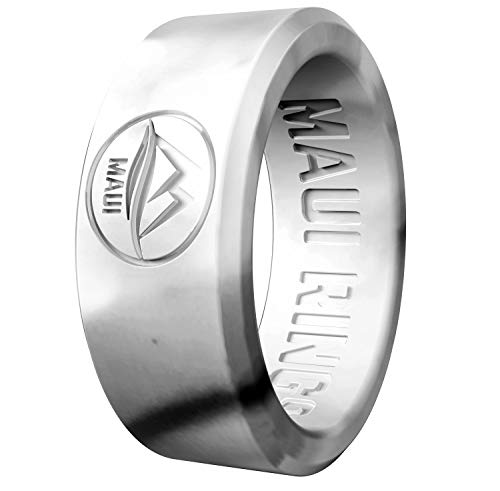 MAUI RINGS Silicone Wedding Ring for Men Solid Style Engagement Rings Silicone Wedding Band for Men Mens Ring Men Wedding Band Safe Ring for Athletes Sport Gym (Marble, 8) ()