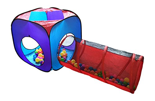 Playz 4 Piece Pop Up Children Playhouse, 2 Crawl Tunnel and 2 Tents with Zipper Storage Case
