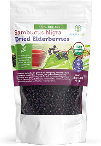 USDA Organic Dried Elderberries - 1lb Bulk - All Natural, Chemical-Free, Non-gmo, Whole Black Elderberry Immune System Support Booster For Making Elder Syrup, Gummies, Tea - Raw Vegan Sambucus Nigra