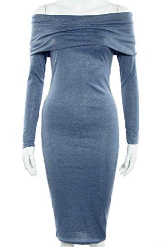 SunIfSnow - Vestido - ajustado - Básico - Manga Larga - para mujer Azul