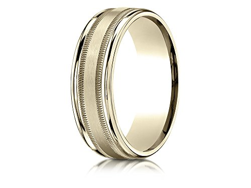 10k Gold 7mm Comfort-fit Satin Finish Center with Milgrain Round Edge Carved Design Band Size 13