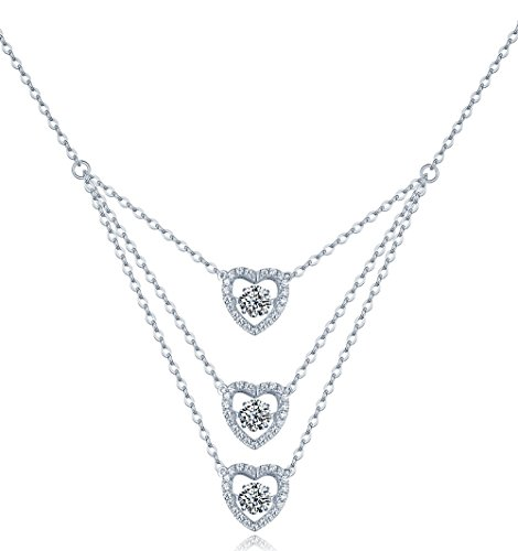 Posh N Popular Jewelry Handmade Sterling Silver Cubic Zirconia Diamond Heart Necklace- Solid 925 Sterling Silver - 3 Heart-Shaped Dancing Pendants - Creates Layered Necklace Look for Women