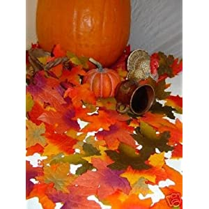 1000 Thanksgiving Halloween Wedding Artificial Fall Maple Autumn Leaves Mix Color Sizes Great Table Scatters 44