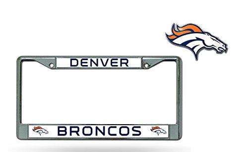 Rico Official National Football League Fan Shop Licensed NFL Shop Authentic Chrome License Plate Frame and Colored Auto Emblem (Denver Broncos)