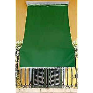 eurostile Toldo de color liso para balcón, porche o terraza con anillas y ganchos, tejido resistente de exterior, medidas 145 x 250 cm, color verde