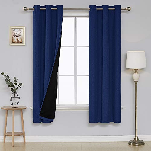 Deconovo Home Fashion Thermal Insulated Faux Linen Drapes with Black Lining Grommet Faux Linen Blackout Curtains for Bedroom 38x63 Inch Navy Blue 2 Panels