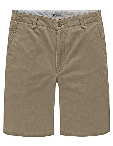 (WenVen Men's Quest Flat Front Chino Shorts (Dark Khaki, 36))