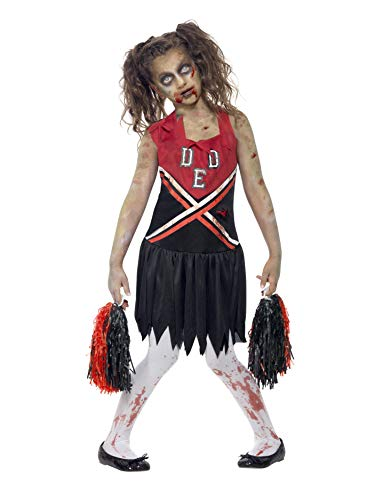 Smiffys Children's Zombie Cheerleader Costume, Blood Stained Dress & Pom Poms, Color: Red & Black, Ages 7-9, Size: Medium, 43023 -