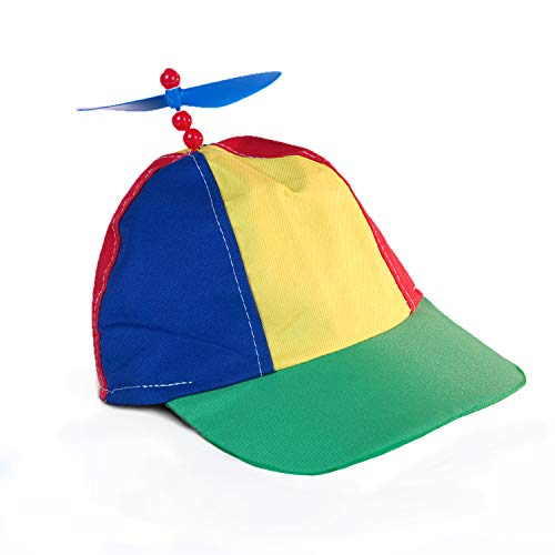 Squirrel Products Rainbow Propeller Spinner Hat - One Size with Adjustable Baseball Hat Snap Back