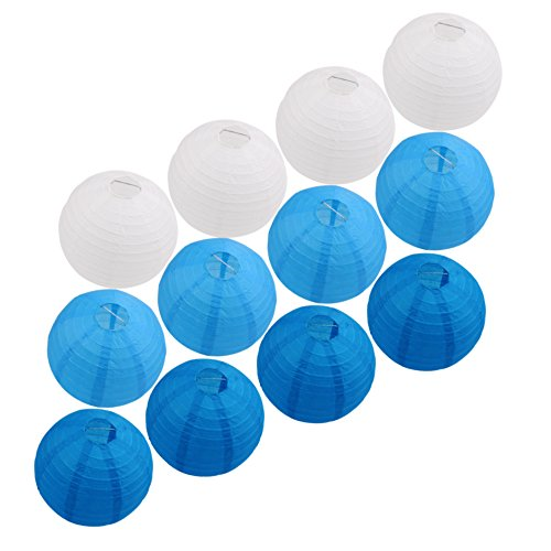 Blue with White Paper Lanterns (8 Inch, Set of 12) for Weddings, Parties and Home Decorations by Mskei