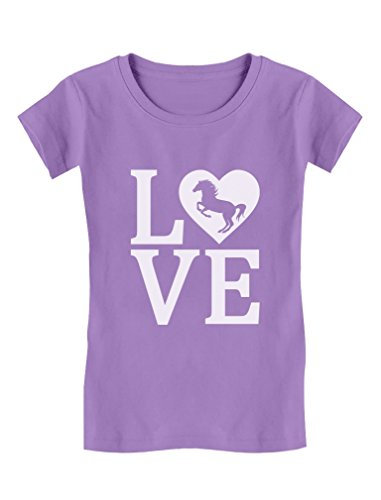 Tstars - Love Horses Gift for Horse Lover Girls' Fitted Kids T-Shirt L (9-10) - T-shirt Horse Lovers