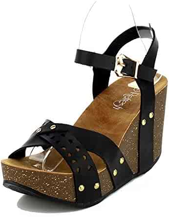 c0333543691 WestCoast Mara-20 Womens Slingback Ankle Strap Comfort Criss Cross Platform  Open Toe Wedge Sandals