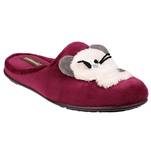 Cotswold Womens/Ladies Hyde Fluffy Animal Detail Velour Slippers Rojo