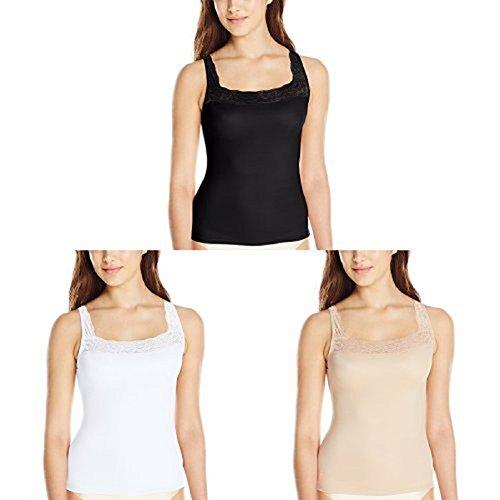 Ladies Camisole - VASSARETTE Vanity Fair Women's Microfiber Camisole 17072 Black Sable/White Ice/Vass Latte