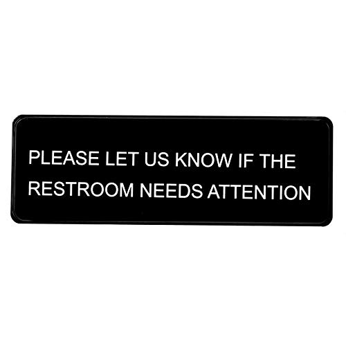 Alpine Industries Please Let Us Know If The Restroom Needs Attention Sign - Durable Self Stick Public Washroom/Bathroom Wall Signage Plate w/White Lettering & Symbol for Restaurants & Businesses