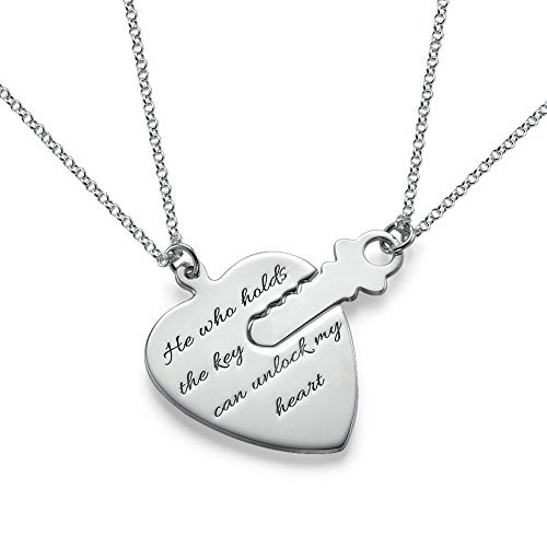 (Engraved Key to My Heart Necklace - Custom Made with Any Name !...)
