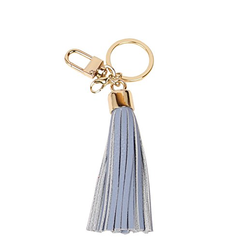 Leather Tassel Charm Women Handbag Wallet Accessories Key Rings (Skyblue)