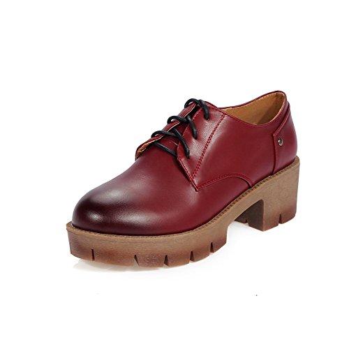 Odomolor Damen Weiches Material Rund Zehe Mittler Absatz Schnüren Rein Pumps Schuhe Rot