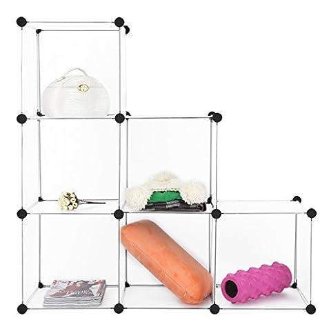 LANGRIA Modular Shelving, DIY Closet Organization System, Plastic Wire Storage Cubes Organizer, Bookcase, Cabinet, (6 - Regular - Modular Office Storage