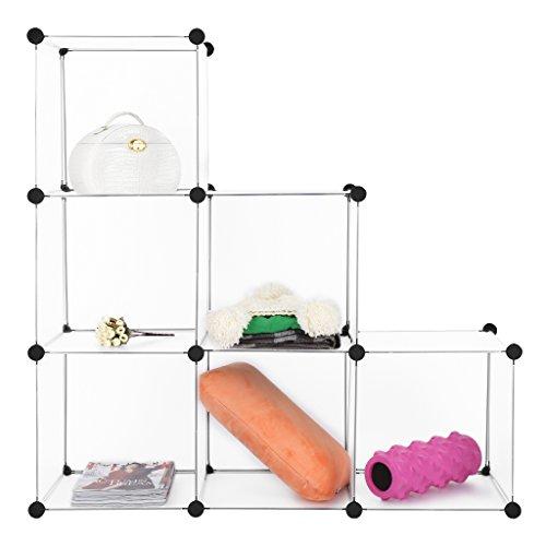 6-Cube Modular DIY Closet Cube Organizer by LANGRIA 3 tier Cubby Shelving Bookcase Cube Storage Cabinet, DIY Shoe Rack White (6 - Regular Cube) (Closet Organizer Cubes)