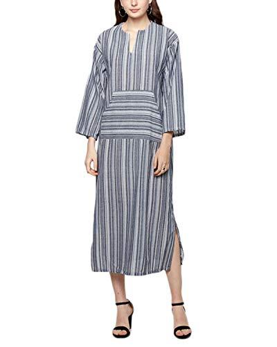1550d9dacd Celmia Women Striped Maxi Dresses 3 4 Sleeve Split Kaftan Long Dress V Neck  with